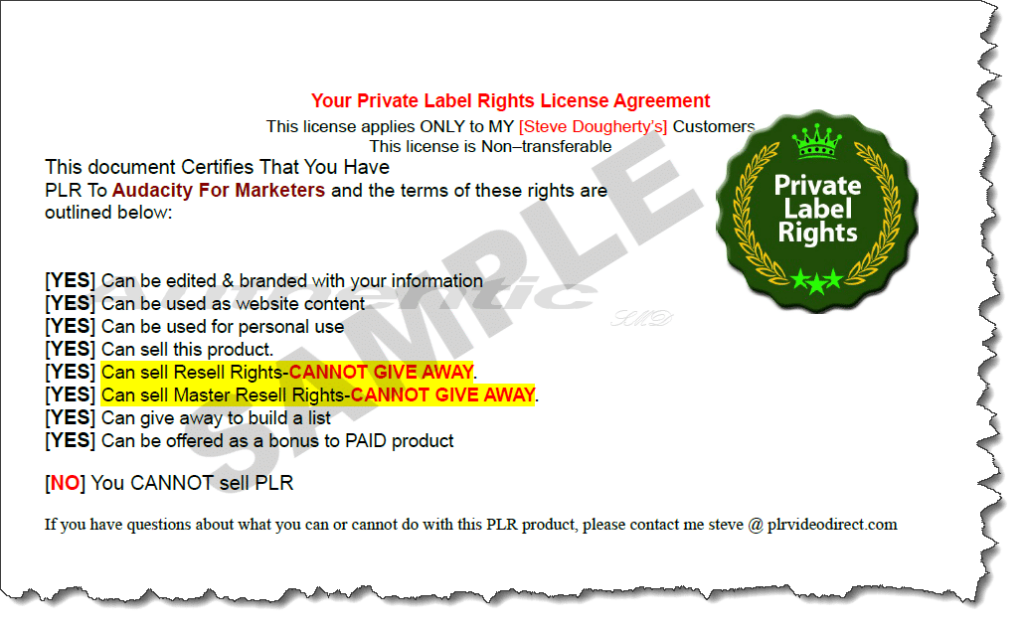 Audacity For Marketers Sample PLR License Image